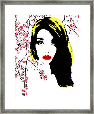 Elsa With Cherry Blossoms Framed Print by Alexandra Rose
