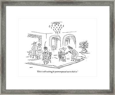 Elsie Is Still Waiting For Postmenopausal Zest Framed Print by George Booth