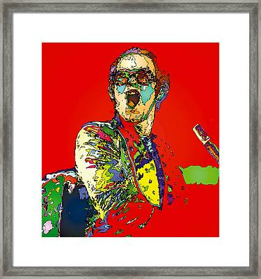 Elton In Red Framed Print by John Farr