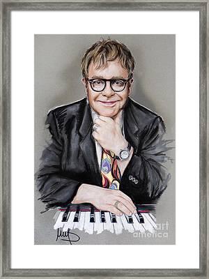 Elton John Framed Print by Melanie D