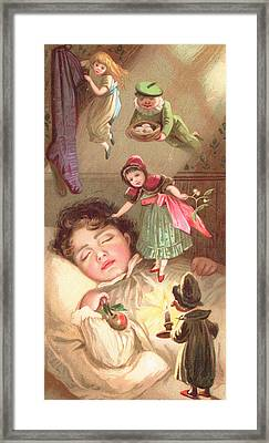 Elves Delivering Christmas Gifts Framed Print by English School