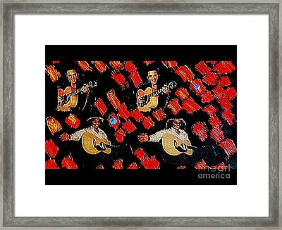 Elvis Elvis Michael Michael Red And Blue Notes Framed Print by Richard W Linford