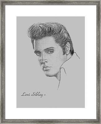 Framed Print featuring the drawing Elvis In Charcoal by Loxi Sibley