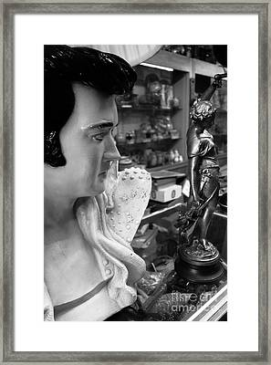 Elvis Lamp Black And White Framed Print by Amy Cicconi