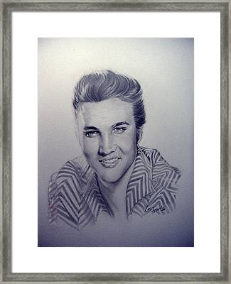 Framed Print featuring the drawing Elvis by Lori Ippolito