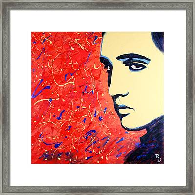 Elvis Presley - Red Blue Drip Framed Print