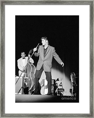 Elvis Presley And Bill Black 1956 Framed Print by The Harrington Collection