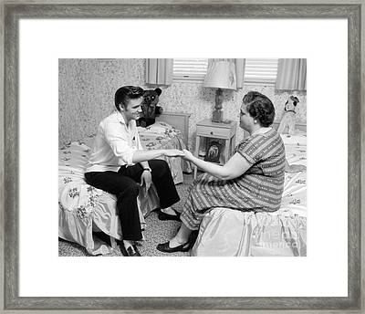 Elvis Presley And His Mother Gladys 1956 Cropped Framed Print