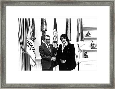 Elvis Presley And President Nixon Framed Print by Retro Images Archive