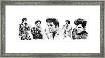 Elvis Presley Art Long Drawing Sketch Portrait Framed Print