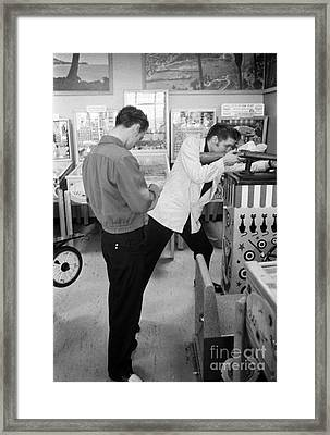 Elvis Presley At An Arcade 1956 Framed Print by The Harrington Collection