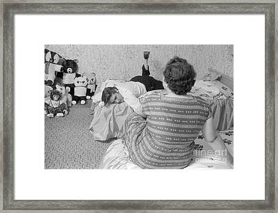 Elvis Presley At Home With His Mother Gladys And His Teddy Bears Framed Print