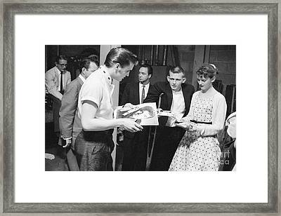 Elvis Presley Backstage Signing Autographs For Fans 1956 Framed Print by The Harrington Collection