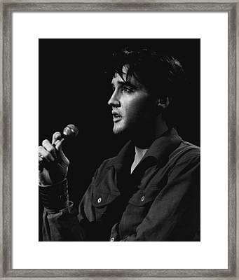 Elvis Presley Close Up Performing Framed Print by Retro Images Archive