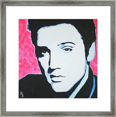 Elvis Presley - Crimson Pop Art Framed Print by Bob Baker