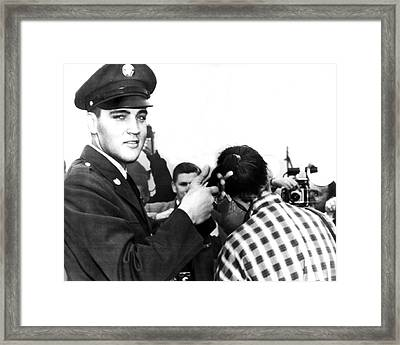 Elvis Presley Cuts Army Recruits Hair Framed Print by Retro Images Archive