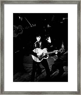 Elvis Presley In Action On Stage Framed Print by Retro Images Archive