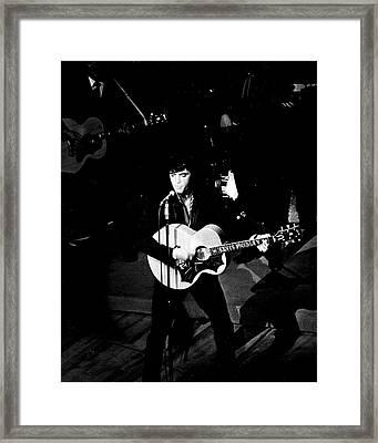 Elvis Presley In Action On Stage Framed Print