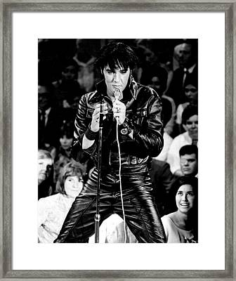 Elvis Presley In Leather Suit Framed Print by Retro Images Archive