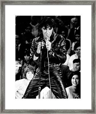 Elvis Presley In Leather Suit Framed Print