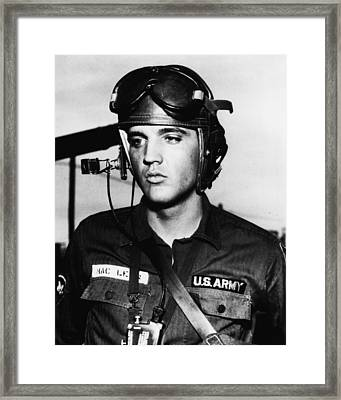 Elvis Presley In Military Uniform Framed Print by Retro Images Archive