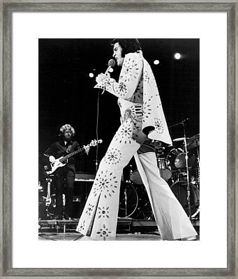Elvis Presley In White Outfit On Stage Framed Print