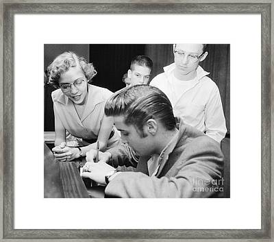 Elvis Presley Meeting Fans 1956 Framed Print by The Harrington Collection