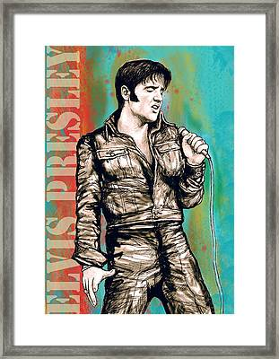 Elvis Presley - Modern Art Drawing Poster Framed Print by Kim Wang