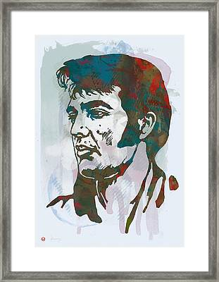 Elvis Presley - Modern Etching  Pop Art Poster Framed Print by Kim Wang