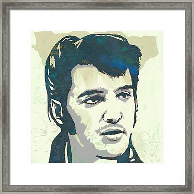 Elvis Presley - Modern Pop Art Poster Framed Print by Kim Wang