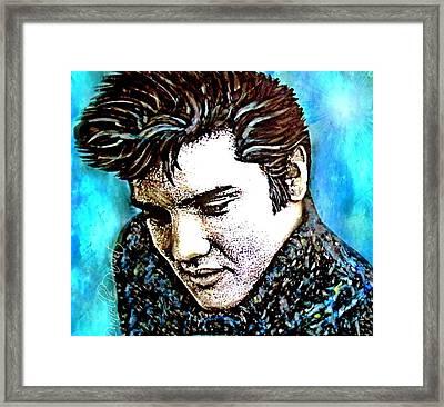 Elvis Presley Never Left The Building Alcohol Inks Framed Print by Danielle  Parent