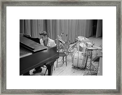 Elvis Presley On Piano Waiting For A Show To Start 1956 Framed Print by The Harrington Collection