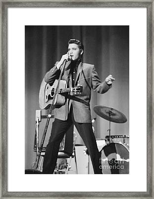 Elvis Presley On Stage 1956 Framed Print by The Harrington Collection