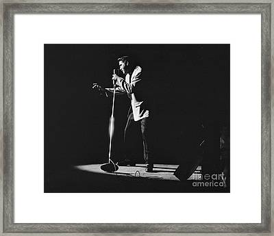 Elvis Presley On Stage In Detroit 1956 Framed Print by The Harrington Collection