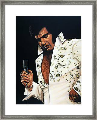 Elvis Presley Painting Framed Print by Paul Meijering