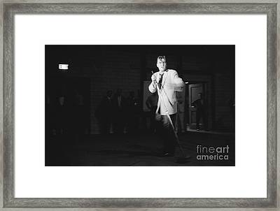Elvis Presley Performing In Dayton In 1956 Framed Print by The Harrington Collection