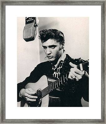 Elvis Presley Plays And Sings Into Old Microphone Framed Print by Retro Images Archive