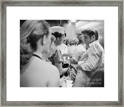Elvis Presley Signing Autographs At The Fox Theater 1956 Framed Print by The Harrington Collection