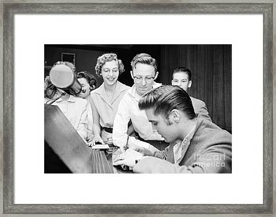 Elvis Presley Signing Autographs For Fans 1956 Framed Print by The Harrington Collection