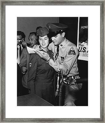 Elvis Presley Signs Autograph For Girl Framed Print by Retro Images Archive