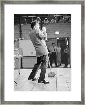 Elvis Presley Singing In Dayton In 1956 Framed Print by The Harrington Collection