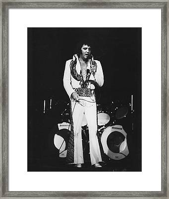 Elvis Presley Sings In Front Of Drum Set Framed Print by Retro Images Archive