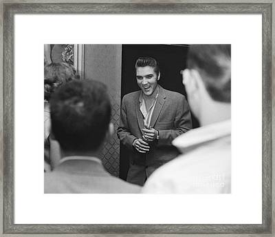 Elvis Presley Speaking With Fans 1956 Framed Print by The Harrington Collection