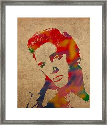 Elvis Presley Watercolor Portrait On Worn Distressed Canvas Framed Print by Design Turnpike