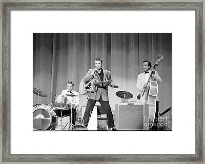 Elvis Presley With D.j. Fontana And Bill Black 1956 Framed Print by The Harrington Collection