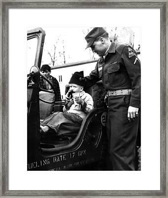 Elvis Presley With Fan Framed Print