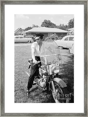 Elvis Presley With His 1956 Harley Kh And His Cadillacs Framed Print by The Harrington Collection