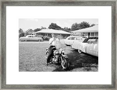 Elvis Presley With His 1956 Harley Kh Framed Print by The Harrington Collection