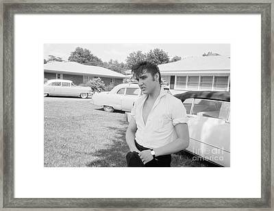 Elvis Presley With His Cadillacs Framed Print by The Harrington Collection