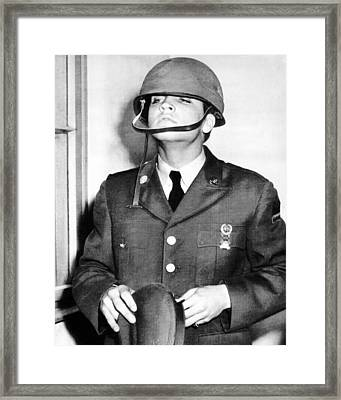 Elvis Presley With Military Helmet Framed Print by Retro Images Archive